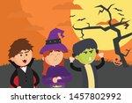 happy halloween with fun kids | Shutterstock .eps vector #1457802992