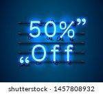 neon frame 50 off text banner.... | Shutterstock .eps vector #1457808932