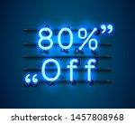neon frame 80 off text banner.... | Shutterstock .eps vector #1457808968