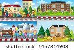 set of scenes in nature setting ... | Shutterstock .eps vector #1457814908
