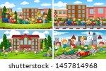 set of scenes in nature setting ... | Shutterstock .eps vector #1457814968