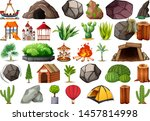 collection of outdoor nature... | Shutterstock .eps vector #1457814998