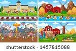 set of scenes in nature setting ... | Shutterstock .eps vector #1457815088