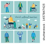 vector background with disabled ... | Shutterstock .eps vector #1457847425