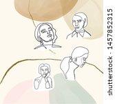 female face silhouette hand... | Shutterstock .eps vector #1457852315