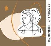 female face silhouette hand... | Shutterstock .eps vector #1457852318