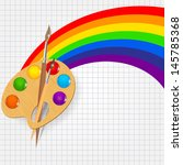 wooden art palette with paints...   Shutterstock . vector #145785368