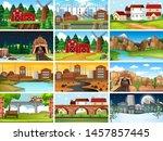 set of scenes in nature setting ... | Shutterstock .eps vector #1457857445