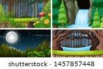 set of outdoor nature scenes... | Shutterstock .eps vector #1457857448