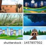 set of scenes in nature setting ... | Shutterstock .eps vector #1457857502