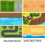 set of top view aerial scenes... | Shutterstock .eps vector #1457857595