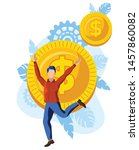 happy man jumping in front of... | Shutterstock .eps vector #1457860082