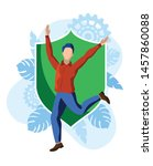 happy man jumping in front of... | Shutterstock .eps vector #1457860088