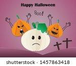 greeting card for halloween... | Shutterstock .eps vector #1457863418