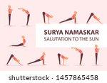 surya namaskar sequence yoga... | Shutterstock .eps vector #1457865458
