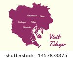 map of tokyo city 23 ward with... | Shutterstock .eps vector #1457873375