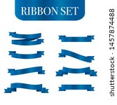 blue ribbons set. vector ribbon ... | Shutterstock .eps vector #1457874488