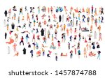 Stock vector crowd of flat illustrated people dancing surfing traveling walking working playing doing 1457874788
