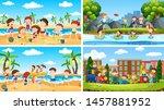 set of scenes in nature setting ... | Shutterstock .eps vector #1457881952