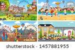 set of scenes in nature setting ... | Shutterstock .eps vector #1457881955