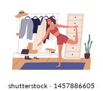 young woman doing sports... | Shutterstock .eps vector #1457886605