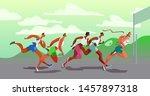 dynamic running people. winner. ... | Shutterstock .eps vector #1457897318