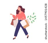 funny woman carrying bags with... | Shutterstock .eps vector #1457901428