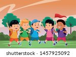 happy kids with camping... | Shutterstock .eps vector #1457925092