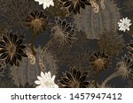 Flowering Cacti. Gold  Black ...