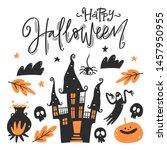 halloween design elements.... | Shutterstock .eps vector #1457950955