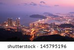 Skyline of Busan, South Korea at the Haeundae District. The city is the second largest in the country. - stock photo