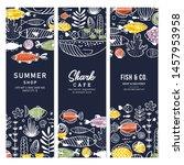 sealife fun vertical banner... | Shutterstock .eps vector #1457953958