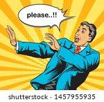 pop art comic retro scared men...   Shutterstock .eps vector #1457955935