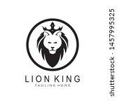 lion head logo design template | Shutterstock .eps vector #1457995325