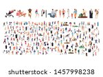 crowd of flat illustrated... | Shutterstock .eps vector #1457998238