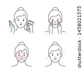 facial massage outline style... | Shutterstock .eps vector #1458021575