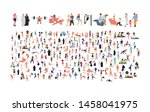 crowd of flat illustrated... | Shutterstock .eps vector #1458041975