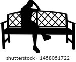 a woman sitting on a bench.  | Shutterstock .eps vector #1458051722