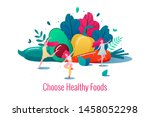 concept of healthy lifestyle... | Shutterstock .eps vector #1458052298