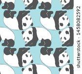 panda seamless pattern print... | Shutterstock . vector #1458082592