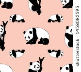 panda seamless pattern print... | Shutterstock . vector #1458082595