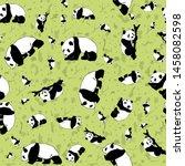panda seamless pattern print... | Shutterstock . vector #1458082598