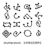 set of black line arrow icons | Shutterstock .eps vector #1458103892