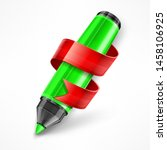 felt tip pen with red ribbon... | Shutterstock . vector #1458106925