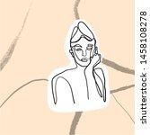 female face silhouette hand... | Shutterstock .eps vector #1458108278