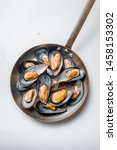 Ready Mussels In A Pan On A...