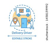 Delivery driver concept icon. Service worker idea thin line illustration. Express shipment, distribution. Delivery vehicle, truck. Cargo shipping. Vector isolated outline drawing. Editable stroke - stock vector