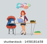 busy businesswoman in mother... | Shutterstock .eps vector #1458181658