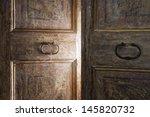 Old Wooden Door Opening With...