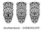 set of tattoo sketch maori... | Shutterstock .eps vector #1458242195